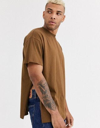 Asos DESIGN oversized longline t-shirt with extreme side splits in brown