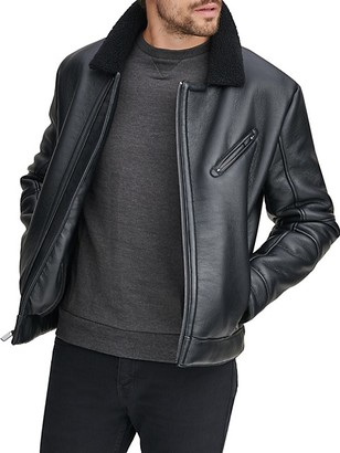 Andrew Marc Faux Fur-Trim Spread Collar Faux Leather Jacket