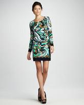 Ali Ro Dylan Long-Sleeve Printed Jersey Shift Dress