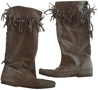Non Signé / Unsigned Non Signe / Unsigned Beige Suede Boots