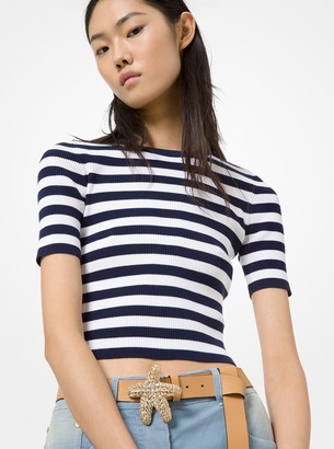 Michael Kors Collection Striped Stretch-Viscose Cropped Sweater