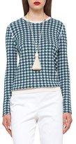 Akris Houndstooth Jacquard Crewneck Sweater, Seabiscuit/Moonstone