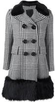 Marc Jacobs contrast trim plaid coat