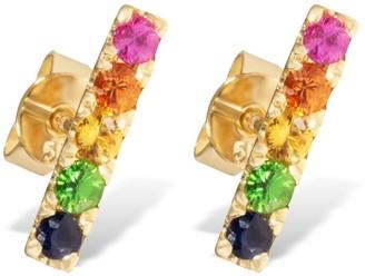 Overstock 14KT Yellow Gold and Precious Gemstones Multicolor Rainbow Bar Stick Stud Earrings for Women - Medium