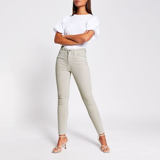 River Island Womens Light Beige high rise skinny jeans