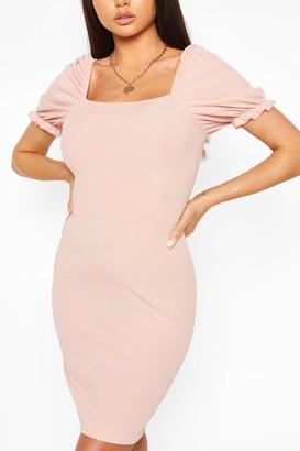 boohoo Rib Square Neck Puff Sleeve Dress