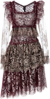 Rodarte Tiered Lace Long Sleeve Dress