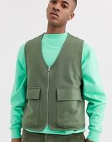 Asos Design DESIGN jersey utility vest in khaki