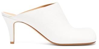 Bottega Veneta Square-toe Leather Mules - Womens - White