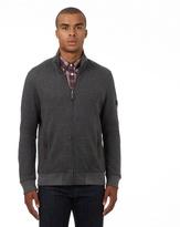Ben Sherman Grey Birdseye Textured Zip Through Sweater
