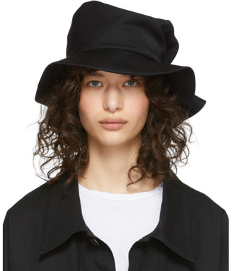 Y's Ys Black Wool Gabardine Belt Hat