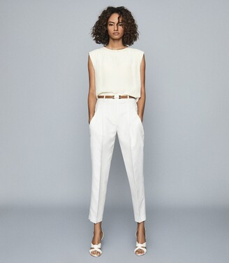 Reiss Shelby - Pleat Front Striped Trousers in White
