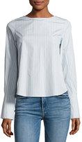 Frame Backwards Long-Sleeve Poplin Blouse, Blue/White
