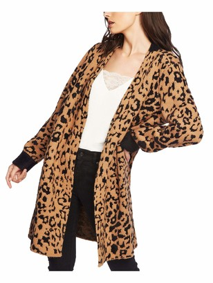 1 STATE Womens Brown Animal Print Long Sleeve Open Cardigan Sweater Size: S