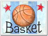 Stupell Industries The Kids Room by Stupell Basket Basketball with Blue Stripes Rectangle Wall Plaque