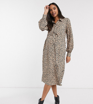 New Look Maternity gathered waist midi shirt dress in camel spot-Brown