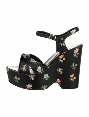 Saint Laurent Leather Floral Sandals Black