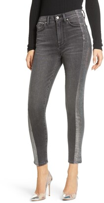 7 For All Mankind Metallic Side Stripe High Waist Ankle Skinny Jeans