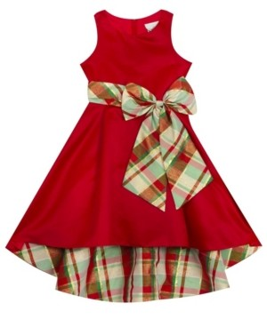 Rare Editions Little Girl Solid Hi-Low Dress With Plaid Bow And Lining