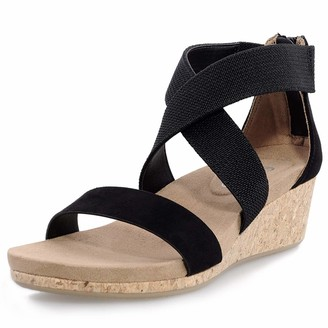 shoeslocker Women's Wedge Sandals Platform Sandals Open Toe Cork Elastic Ankle Strap Sandals Black Size 8