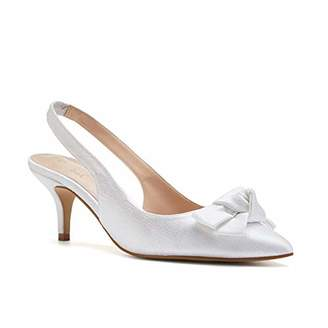 Paradox London Pink Paradox London Women's Kaila Shimmer Satin Wedding Shoes Sling Back Bridal Mid Heel Court Shoes