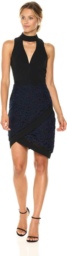 Adelyn Rae Women's Sasha Woven Mock Neck Sheath Dress W/Lace, S
