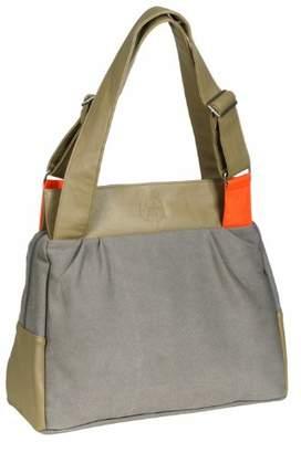 Lassig Pouchy Bag Stylish Shoulder Bag Mom's Bag Tote-Bag Handbag Organized Changing Bag Set from Mommy Daddy Matching Bottle Holder, Baby Changing Mat/Pad and Stroller Hooks, Khaki/Orange