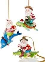 Holiday Lane Set Of 3 Santa Riding Aquatic Animals Ornaments, Created for Macy's