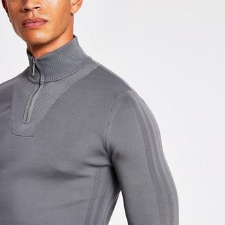 River Island Mens Black half zip slim-fit knitted jumper