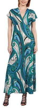 24/7 Comfort Apparel Women's Dress Gisele Green and Blue Empire Waist Maxi Dress