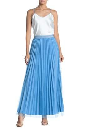Gracia Glitter Waistband Pleated Maxi Skirt