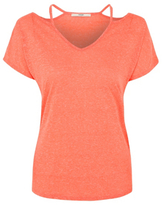 George Linen Blend Cold-Shoulder T-Shirt