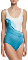 Onia Kelly Wave-Print One-Piece Swimsuit, White