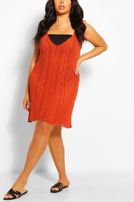 boohoo Plus Crochet Mini Beach Dress