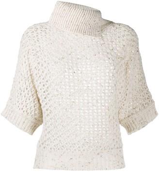 Peserico Open-Knit Metallic Top
