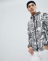 Versace Windbreaker Jacket In White With Tiger Spiral Print