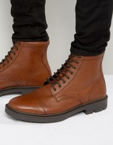 Asos Lace Up Boots In Tan Scotchgrain Leather With Toe Cap