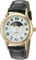 Peugeot Men's 3032A 14k Gold Plated Analog Display Quartz Black Watch