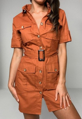 Missguided Rust Utility Pocket Belted Shirt Dress