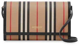 Burberry Hannah Icon Stripe Wallet-On-Strap