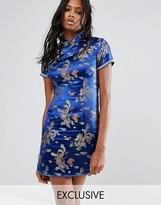 Reclaimed Vintage Inspired Mini Dress In Brocade With Rhinestone Trim