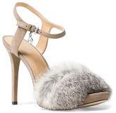 MICHAEL Michael Kors Faye Rabbit Fur and Suede Slingback Sandals