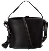 French Connection Dane Leather & Velvet Drawstring Bucket Bag.