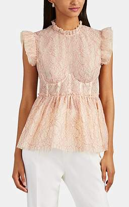 Brock Collection Women's Ruffle Floral-Lace Bustier Peplum Top - Pink