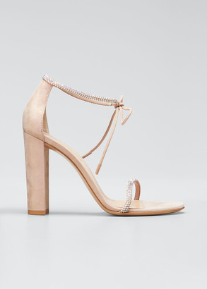 Gianvito Rossi 105mm Crystal Stud Ankle-Tie Sandals