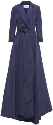 Carolina Herrera Pleated Silk-faille Wrap Gown