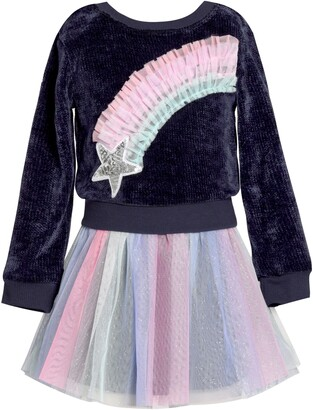 Truly Me Rainbow Star Faux Two-Piece Tutu Dress