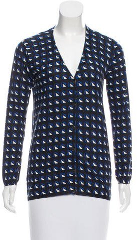 Prada Printed V-Neck Cardigan