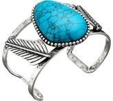 Steve Madden Turquoise Stone w/ Leaves Open Cuff Bangle Bracelet