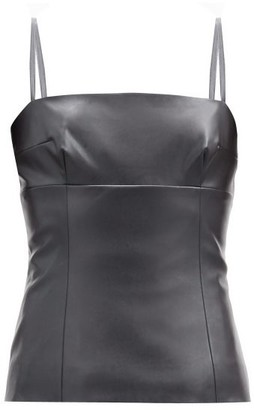 Emilia Wickstead Benson Square-neck Faux-leather Top - Black